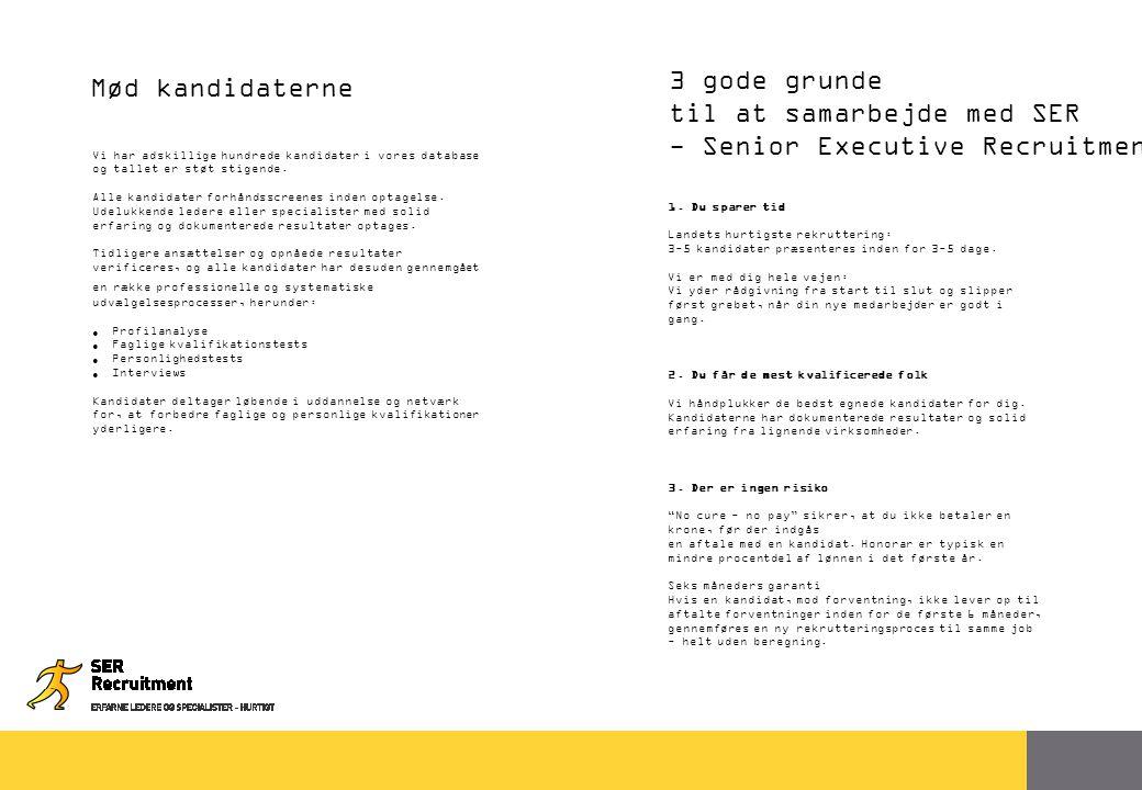 36 3 gode grunde til at samarbejde med SER - Senior Executive Recruitment Mød kandidaterne Vi har adskillige hundrede kandidater i vores database og tallet er støt stigende.