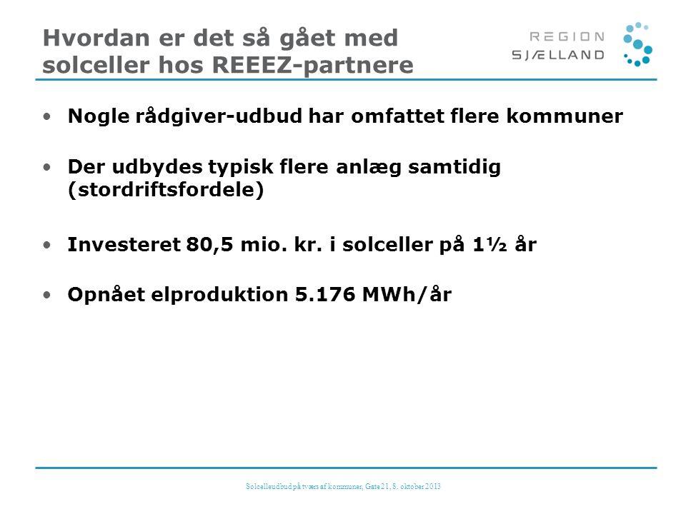 Hvordan er det så gået med solceller hos REEEZ-partnere •Nogle rådgiver-udbud har omfattet flere kommuner •Der udbydes typisk flere anlæg samtidig (stordriftsfordele) •Investeret 80,5 mio.