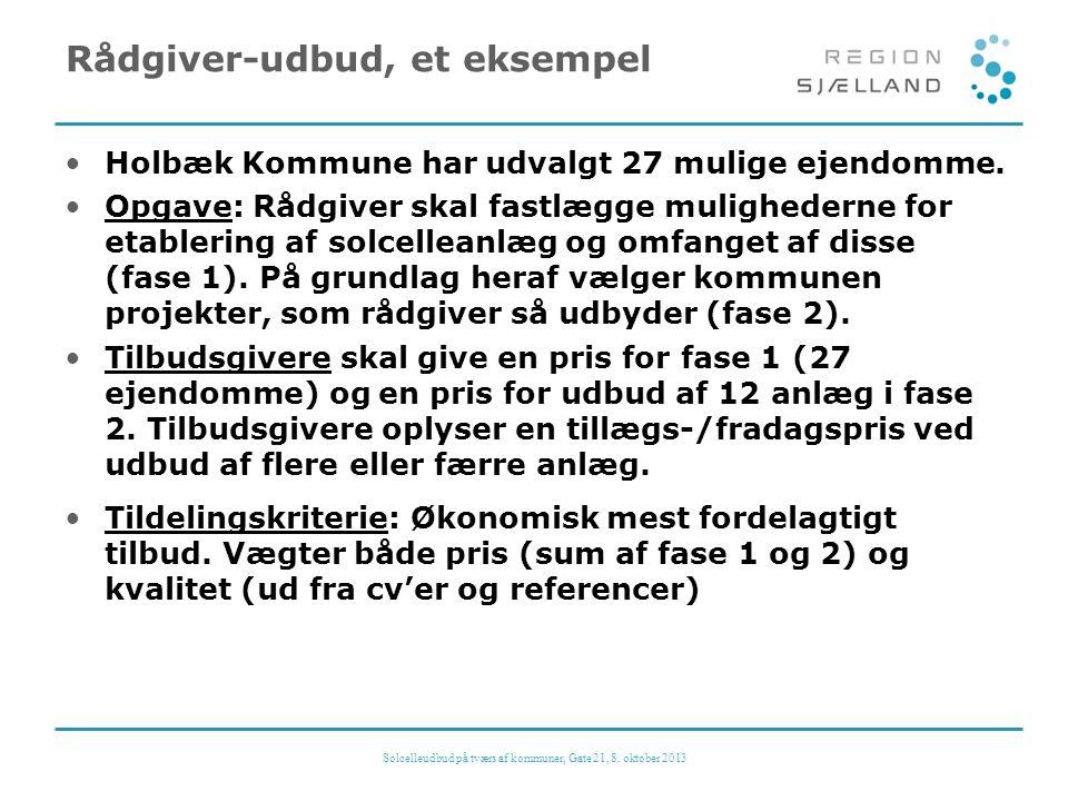 Rådgiver-udbud, et eksempel •Holbæk Kommune har udvalgt 27 mulige ejendomme.