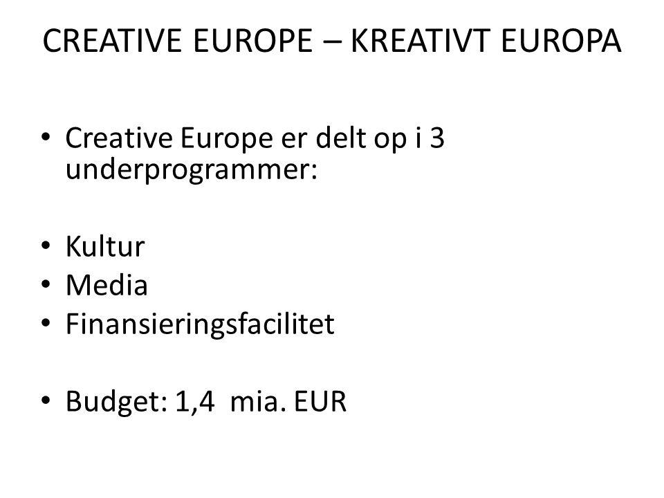 CREATIVE EUROPE – KREATIVT EUROPA • Creative Europe er delt op i 3 underprogrammer: • Kultur • Media • Finansieringsfacilitet • Budget: 1,4 mia.