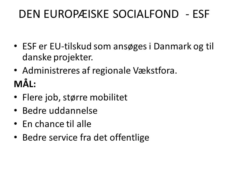 DEN EUROPÆISKE SOCIALFOND - ESF • ESF er EU-tilskud som ansøges i Danmark og til danske projekter.