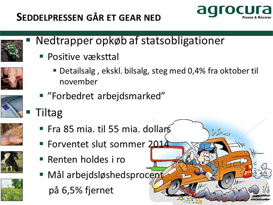 Finans & Råvarer S EDDELPRESSEN GÅR ET GEAR NED  Nedtrapper opkøb af statsobligationer  Positive væksttal  Detailsalg, ekskl.
