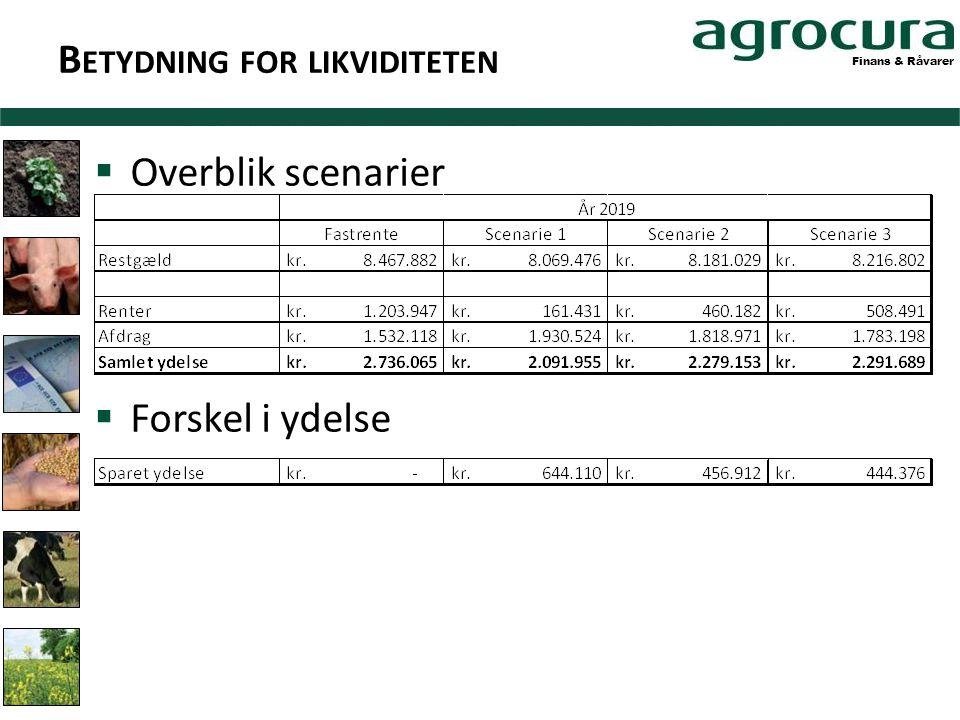 Finans & Råvarer B ETYDNING FOR LIKVIDITETEN  Overblik scenarier  Forskel i ydelse