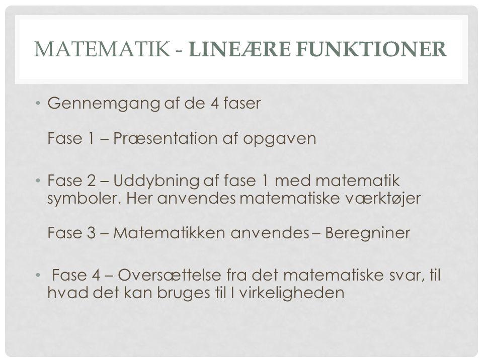 • Gennemgang af de 4 faser Fase 1 – Præsentation af opgaven • Fase 2 – Uddybning af fase 1 med matematik symboler. Her anvendes matematiske værktøjer