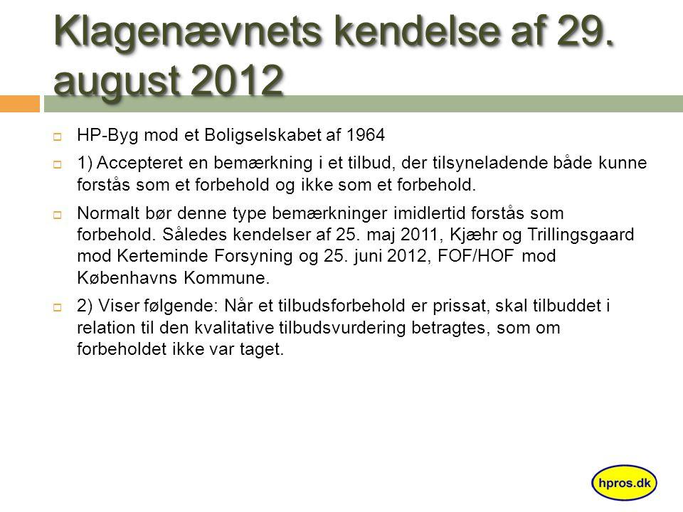 Klagenævnets kendelse af 29.