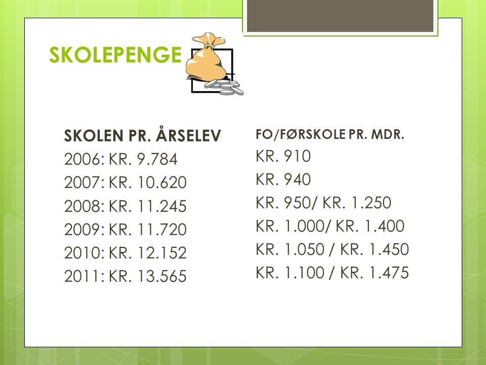 SKOLEPENGE SKOLEN PR. ÅRSELEV 2006: KR. 9.784 2007: KR.