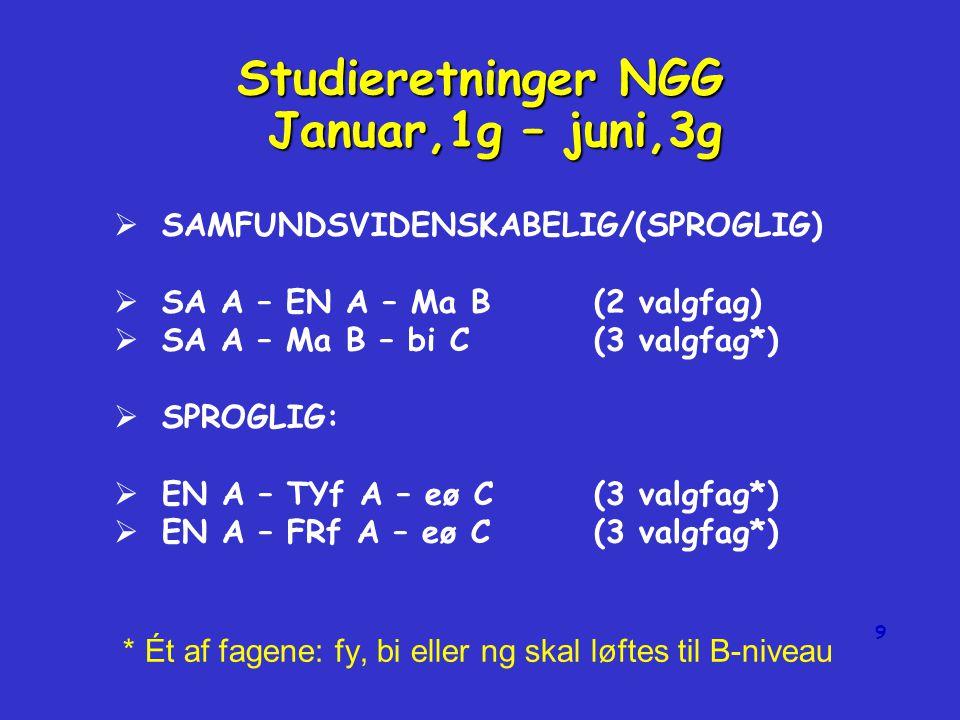 8   NATURVIDENSKABELIG:   MA A – Fy B – Ke B(2 valgfag)   MA A – Bi B – Ke B(2 valgfag)   SPROGLIG/SAMFUNDSVIDENSKABELIG   EN A – Sa B – eø C(3 valgfag*)   EN A – Sa B – Ma B(3 valgfag*) * Ét af fagene: fy, bi eller ng skal løftes til B-niveau ngg.dk Studieretninger NGG Januar,1g – juni,3g