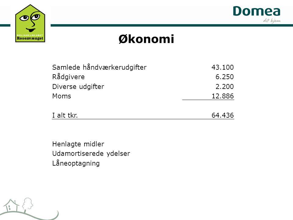 Økonomi Samlede håndværkerudgifter43.100 Rådgivere6.250 Diverse udgifter2.200 Moms12.886 I alt tkr.