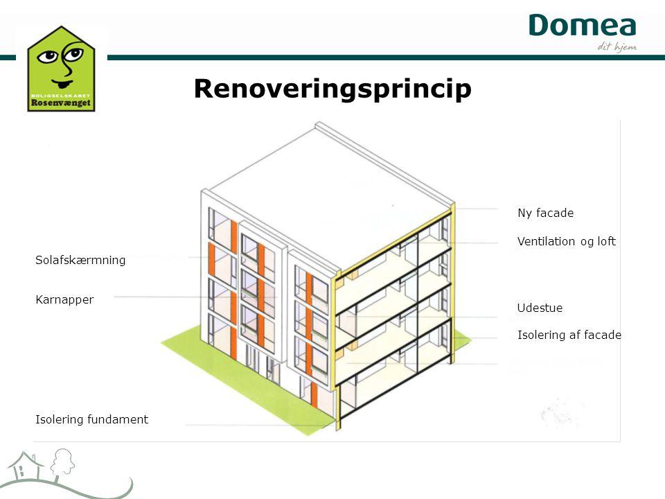 Renoveringsprincip Ny facade Ventilation og loft Udestue Isolering af facade Solafskærmning Karnapper Isolering fundament