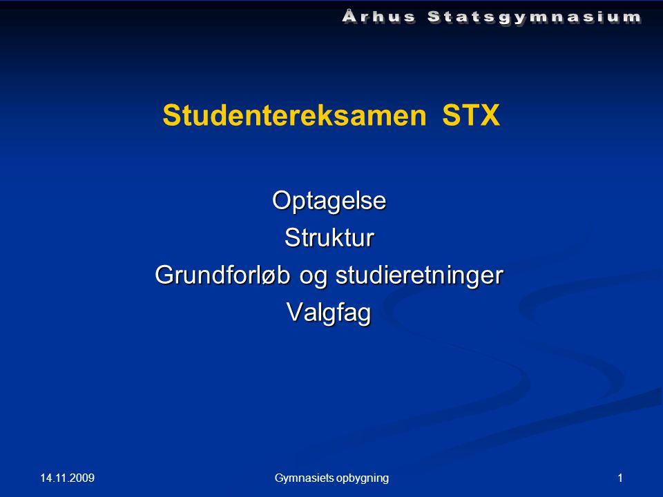 14.11.2009 1Gymnasiets opbygning Studentereksamen STX OptagelseStruktur Grundforløb og studieretninger Valgfag