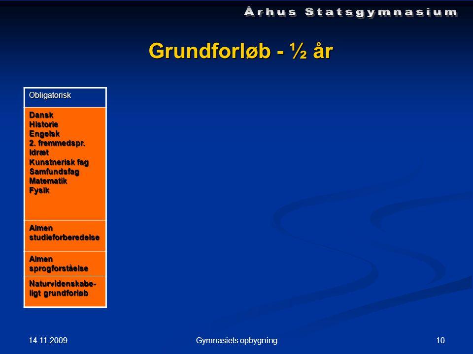 14.11.2009 10Gymnasiets opbygning Grundforløb - ½ år Obligatorisk DanskHistorieEngelsk 2.