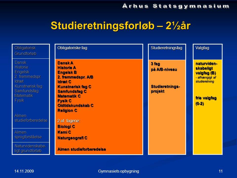 14.11.2009 11Gymnasiets opbygning Studieretningsforløb – 2½år ObligatoriskGrundforløb DanskHistorieEngelsk 2.