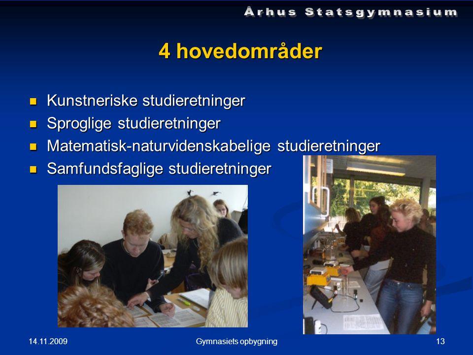 14.11.2009 13Gymnasiets opbygning 4 hovedområder  Kunstneriske studieretninger  Sproglige studieretninger  Matematisk-naturvidenskabelige studieretninger  Samfundsfaglige studieretninger