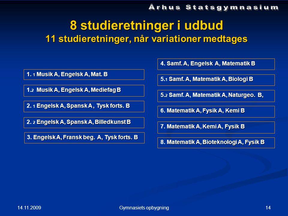 14.11.2009 14Gymnasiets opbygning 8 studieretninger i udbud 11 studieretninger, når variationer medtages 1.