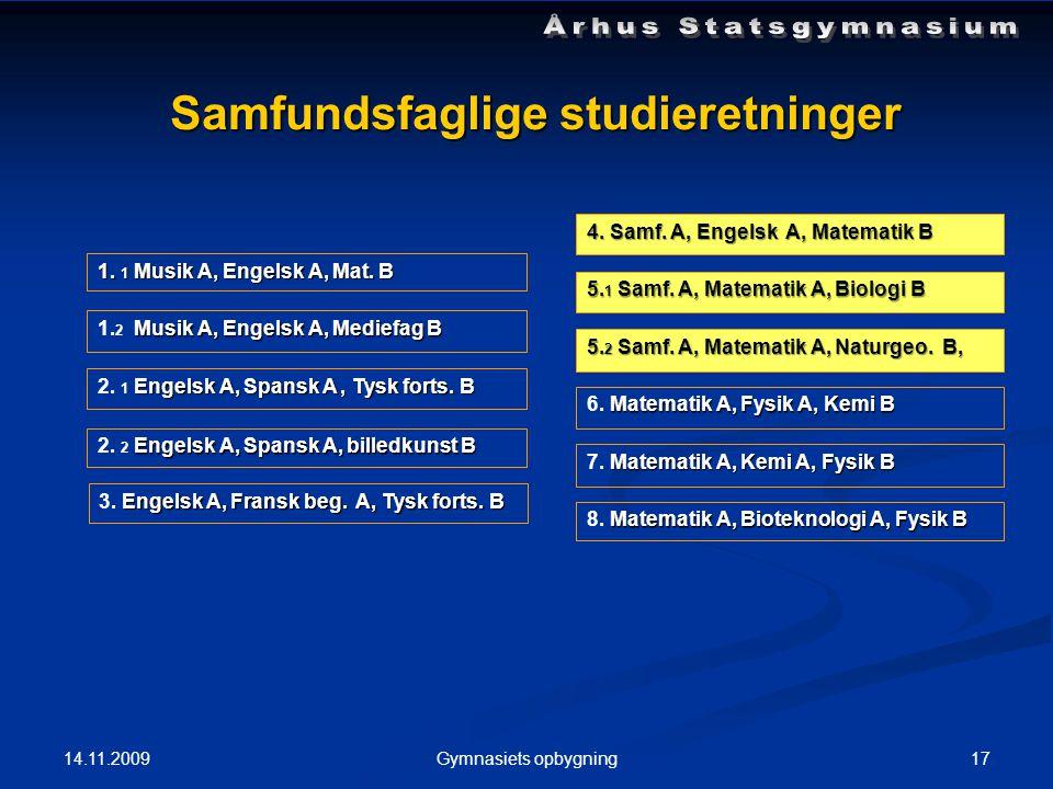 14.11.2009 17Gymnasiets opbygning Samfundsfaglige studieretninger 1.