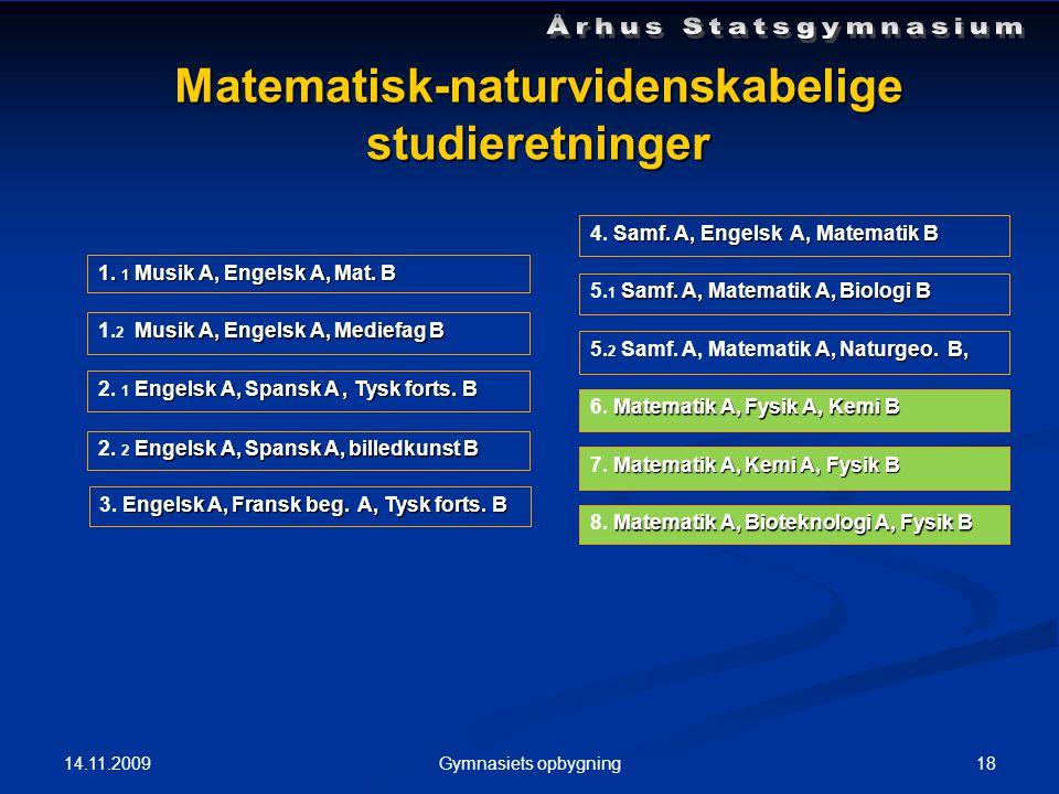 14.11.2009 18Gymnasiets opbygning Matematisk-naturvidenskabelige studieretninger 1.