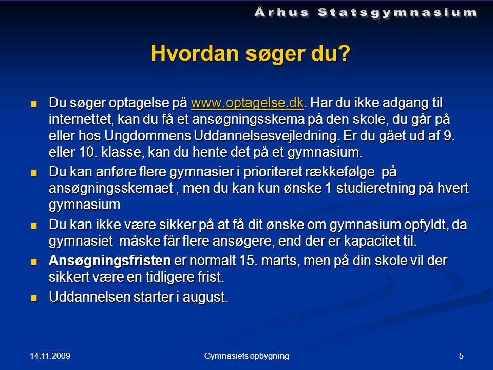 Hvordan søger du.  Du søger optagelse på www.optagelse.dk.
