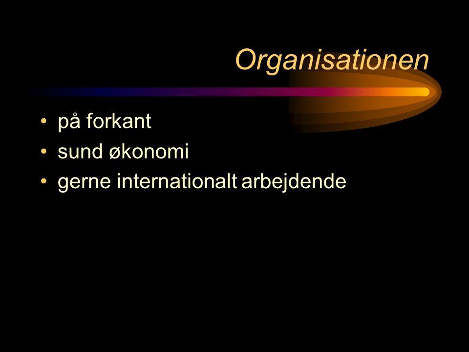 Organisationen •på forkant •sund økonomi •gerne internationalt arbejdende