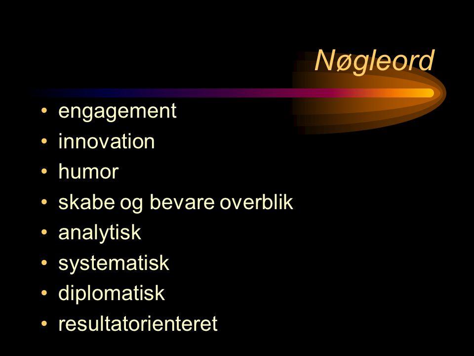 Nøgleord •engagement •innovation •humor •skabe og bevare overblik •analytisk •systematisk •diplomatisk •resultatorienteret