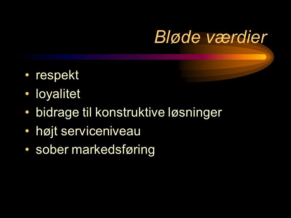 Bløde værdier •respekt •loyalitet •bidrage til konstruktive løsninger •højt serviceniveau •sober markedsføring