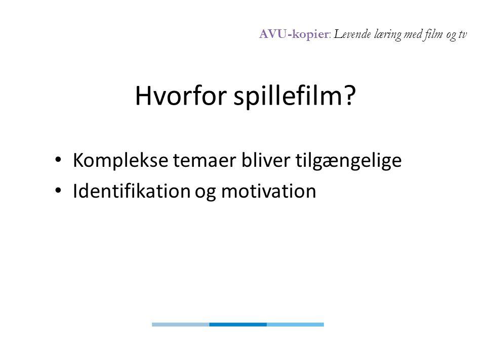 AVU-kopier: Levende læring med film og tv Hvorfor spillefilm.