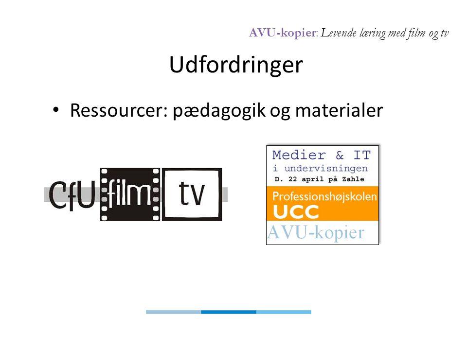 AVU-kopier: Levende læring med film og tv Udfordringer • Ressourcer: pædagogik og materialer