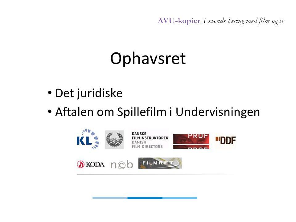 AVU-kopier: Levende læring med film og tv Ophavsret • Det juridiske • Aftalen om Spillefilm i Undervisningen
