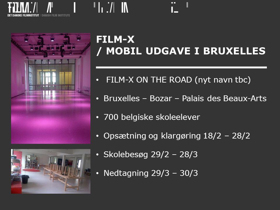 FILM-X / MOBIL UDGAVE I BRUXELLES • FILM-X ON THE ROAD (nyt navn tbc) • Bruxelles – Bozar – Palais des Beaux-Arts • 700 belgiske skoleelever • Opsætning og klargøring 18/2 – 28/2 • Skolebesøg 29/2 – 28/3 • Nedtagning 29/3 – 30/3