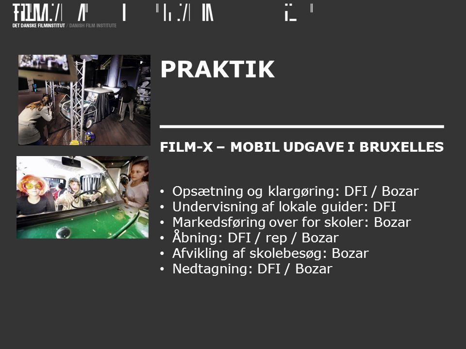 PRAKTIK FILM-X – MOBIL UDGAVE I BRUXELLES • Opsætning og klargøring: DFI / Bozar • Undervisning af lokale guider: DFI • Markedsføring over for skoler: Bozar • Åbning: DFI / rep / Bozar • Afvikling af skolebesøg: Bozar • Nedtagning: DFI / Bozar