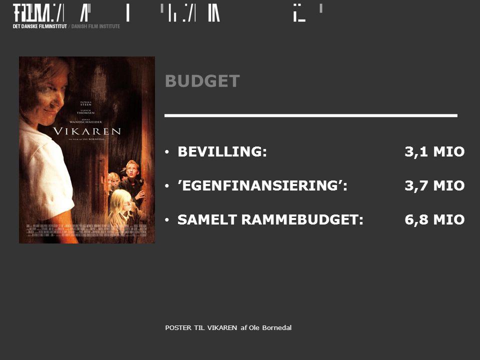 BUDGET • BEVILLING: 3,1 MIO • 'EGENFINANSIERING': 3,7 MIO • SAMELT RAMMEBUDGET:6,8 MIO POSTER TIL VIKAREN af Ole Bornedal