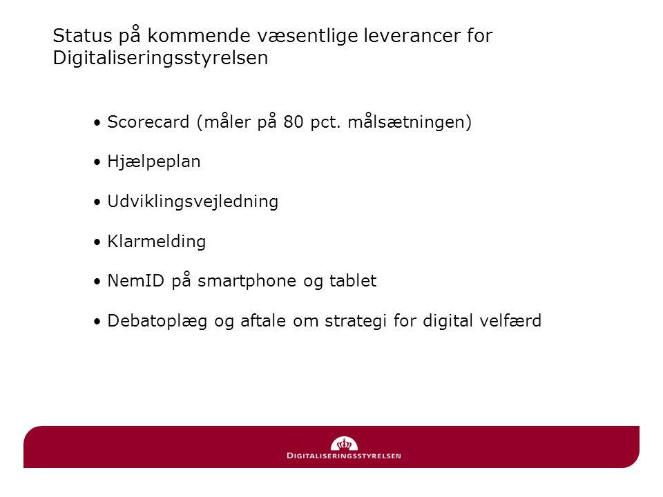 Status på kommende væsentlige leverancer for Digitaliseringsstyrelsen • Scorecard (måler på 80 pct.