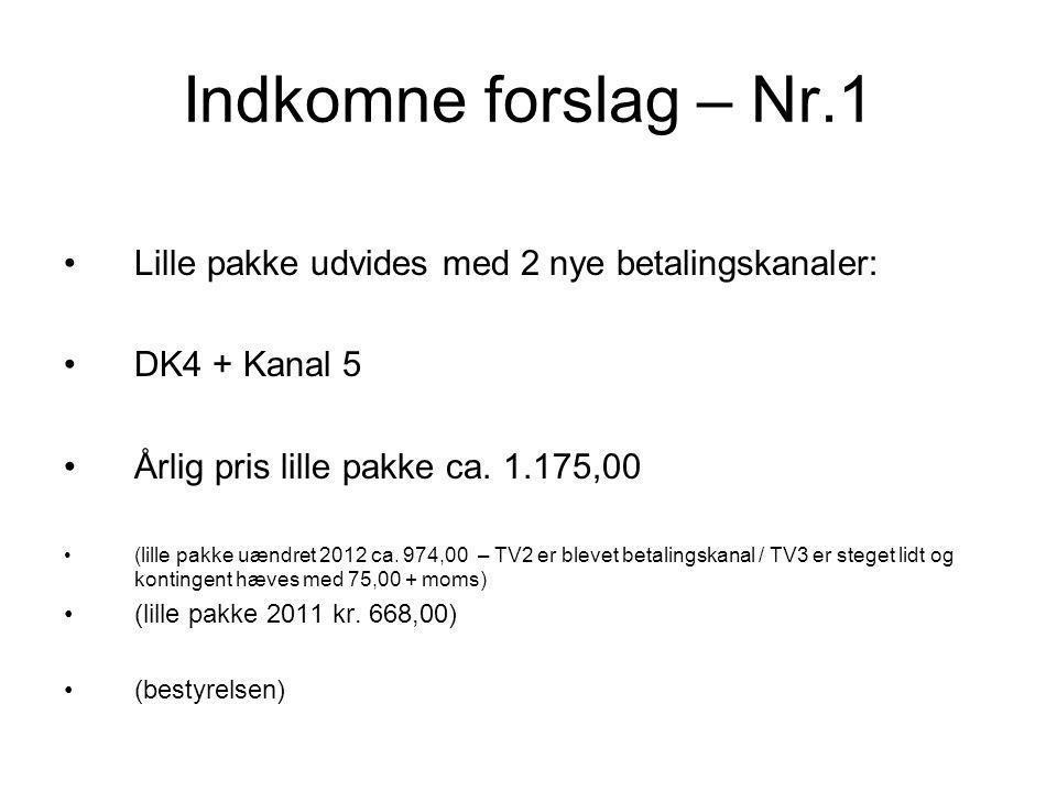 Indkomne forslag – Nr.1 •Lille pakke udvides med 2 nye betalingskanaler: •DK4 + Kanal 5 •Årlig pris lille pakke ca.