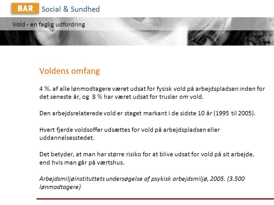 Vold - en faglig udfordring Social & Sundhed Voldens omfang 4 %.