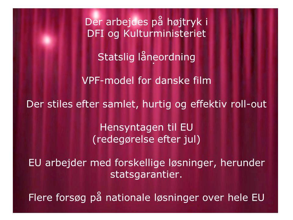 Der arbejdes på højtryk i DFI og Kulturministeriet Statslig låneordning VPF-model for danske film Der stiles efter samlet, hurtig og effektiv roll-out Hensyntagen til EU (redegørelse efter jul) EU arbejder med forskellige løsninger, herunder statsgarantier.