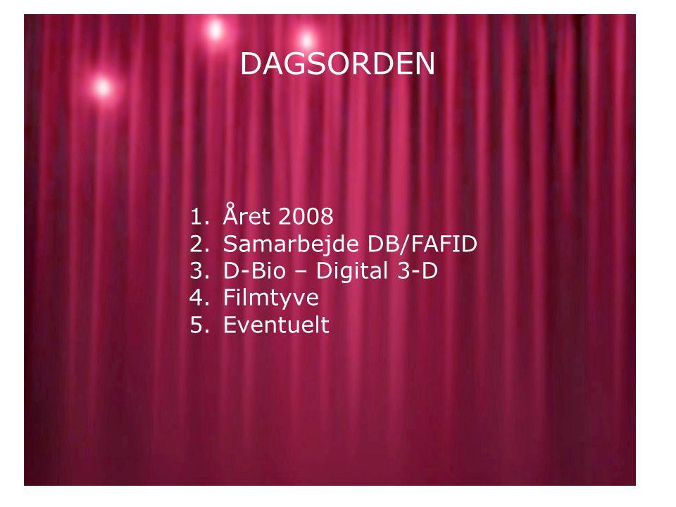 DAGSORDEN 1.Året 2008 2.Samarbejde DB/FAFID 3.D-Bio – Digital 3-D 4.Filmtyve 5.Eventuelt