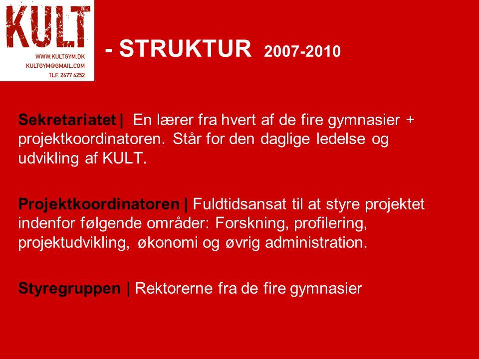 - STRUKTUR 2007-2010 Sekretariatet | En lærer fra hvert af de fire gymnasier + projektkoordinatoren.