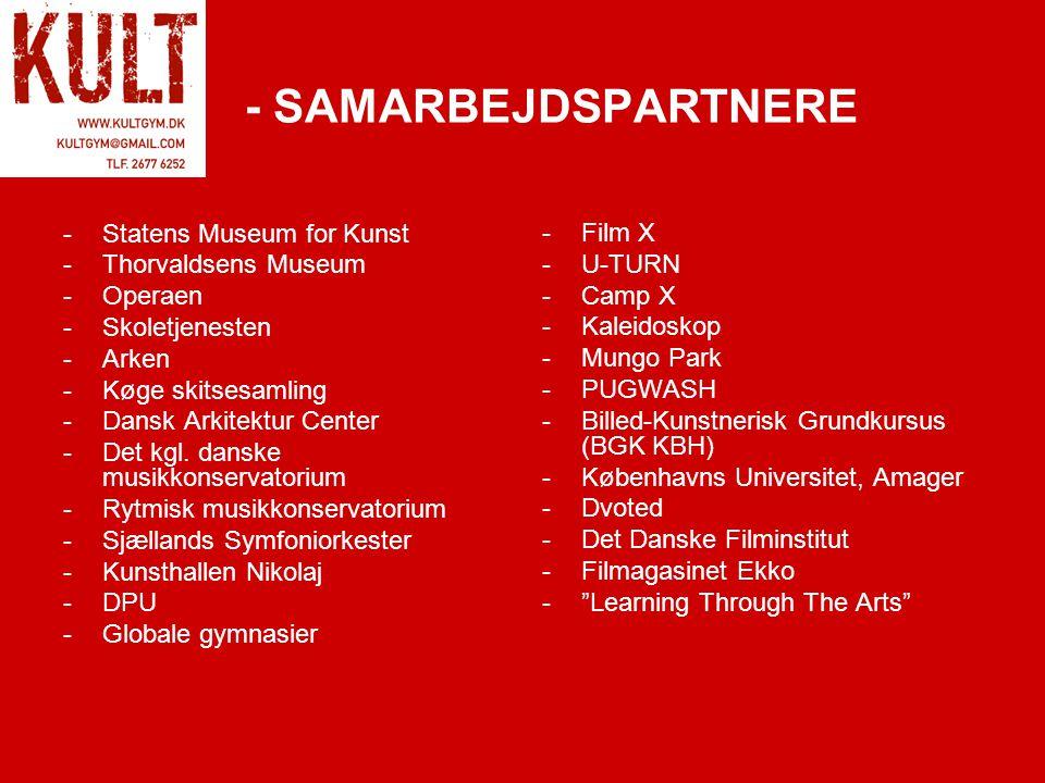 - SAMARBEJDSPARTNERE -Statens Museum for Kunst -Thorvaldsens Museum -Operaen -Skoletjenesten -Arken -Køge skitsesamling -Dansk Arkitektur Center -Det kgl.