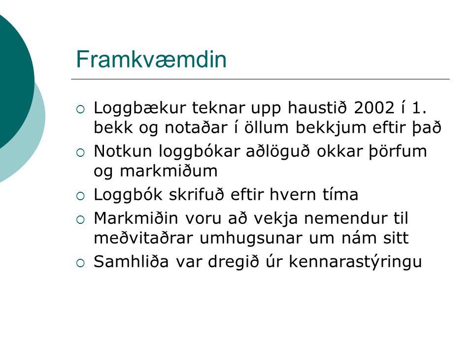 Framkvæmdin  Loggbækur teknar upp haustið 2002 í 1.