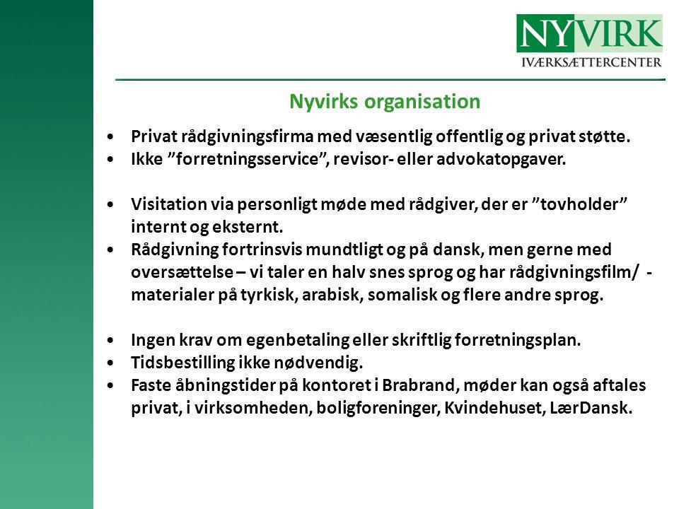Nyvirks organisation •Privat rådgivningsfirma med væsentlig offentlig og privat støtte.