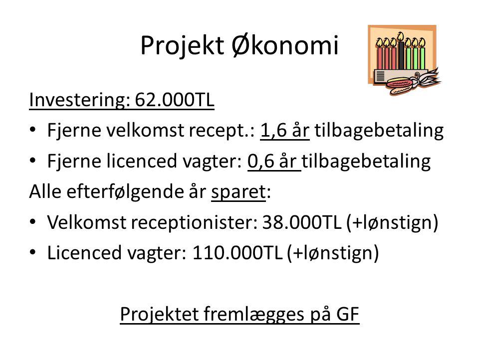 Projekt Økonomi Investering: 62.000TL • Fjerne velkomst recept.: 1,6 år tilbagebetaling • Fjerne licenced vagter: 0,6 år tilbagebetaling Alle efterfølgende år sparet: • Velkomst receptionister: 38.000TL (+lønstign) • Licenced vagter: 110.000TL (+lønstign) Projektet fremlægges på GF