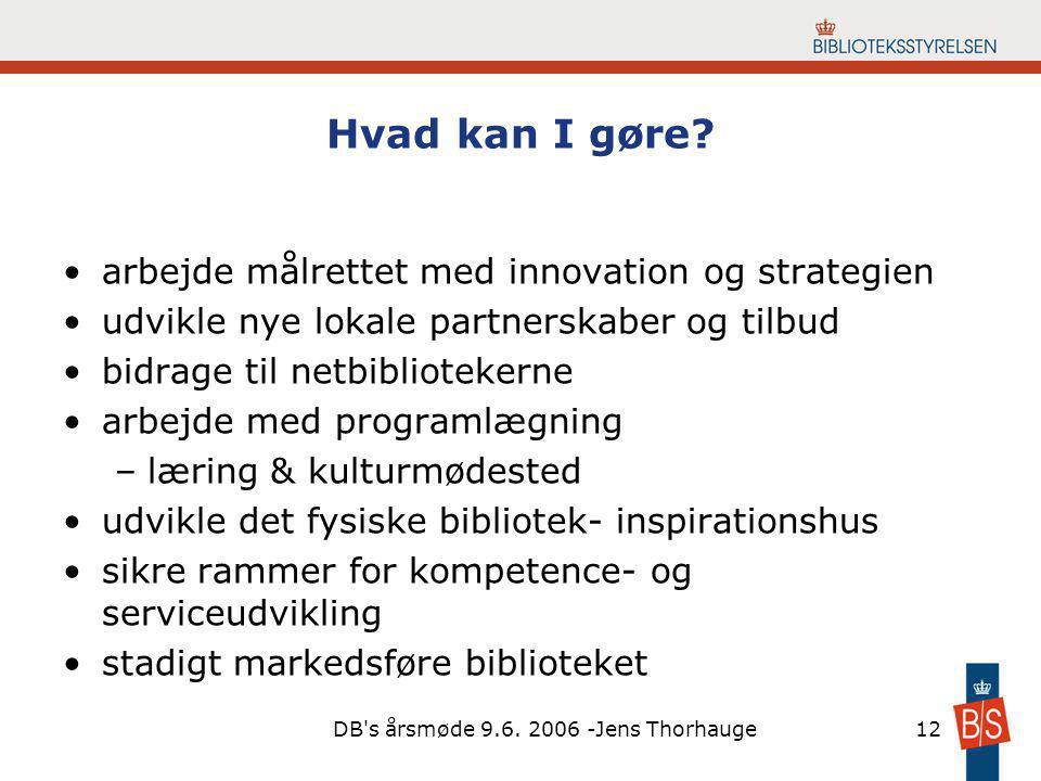 DB s årsmøde 9.6. 2006 -Jens Thorhauge12 Hvad kan I gøre.