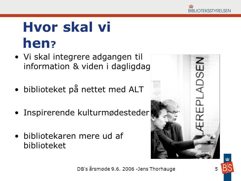 DB s årsmøde 9.6. 2006 -Jens Thorhauge5 Hvor skal vi hen .