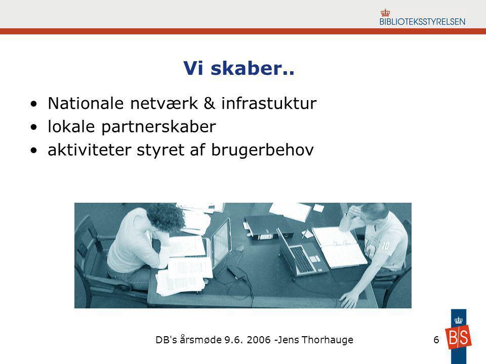 DB s årsmøde 9.6. 2006 -Jens Thorhauge6 Vi skaber..