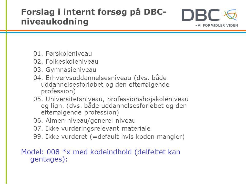 Forslag i internt forsøg på DBC- niveaukodning 01.