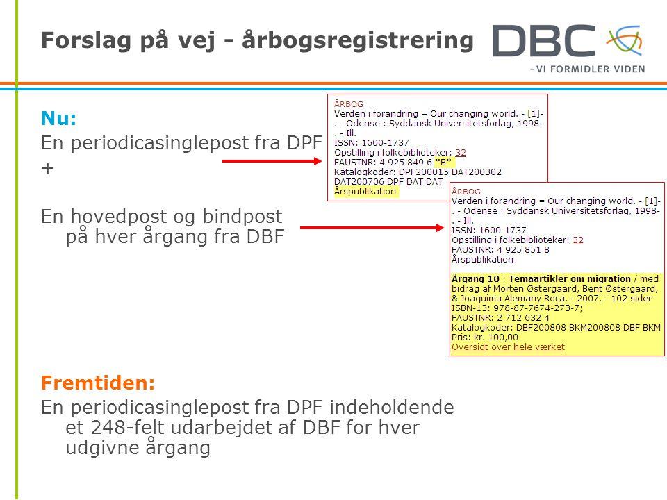 Forslag på vej - årbogsregistrering Nu: En periodicasinglepost fra DPF + En hovedpost og bindpost på hver årgang fra DBF Fremtiden: En periodicasinglepost fra DPF indeholdende et 248-felt udarbejdet af DBF for hver udgivne årgang
