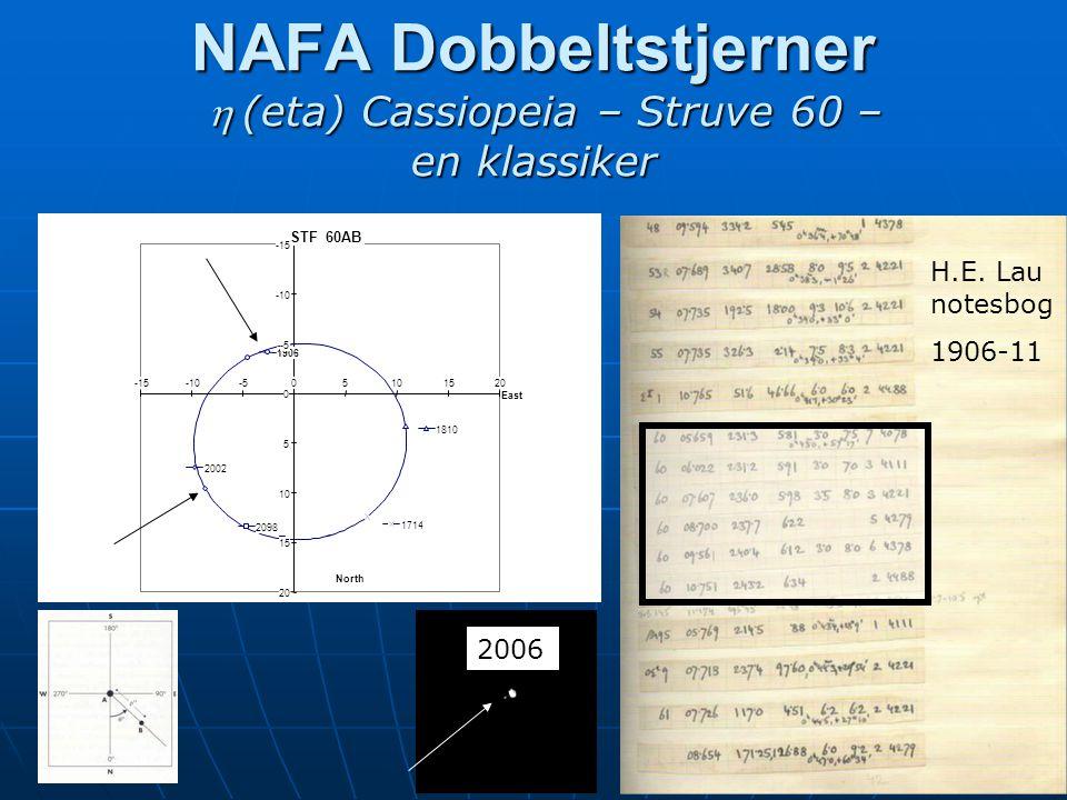 NAFA Dobbeltstjerner (eta) Cassiopeia – Struve 60 – en klassiker 2006 H.E. Lau notesbog 1906-11