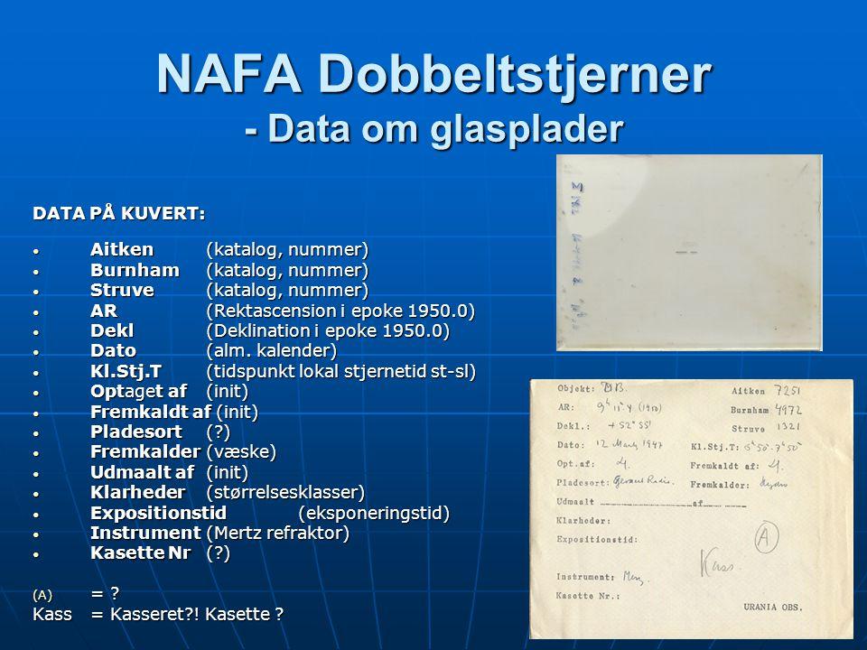 NAFA Dobbeltstjerner - Data om glasplader DATA PÅ KUVERT: • Aitken (katalog, nummer) • Burnham (katalog, nummer) • Struve (katalog, nummer) • AR (Rektascension i epoke 1950.0) • Dekl (Deklination i epoke 1950.0) • Dato (alm.
