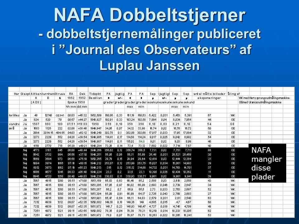 NAFA Dobbeltstjerner - dobbeltstjernemålinger publiceret i Journal des Observateurs af Luplau Janssen NAFA mangler disse plader