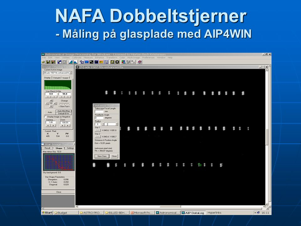 NAFA Dobbeltstjerner - Måling på glasplade med AIP4WIN
