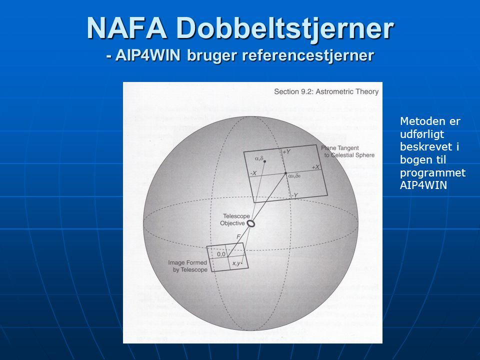 NAFA Dobbeltstjerner - AIP4WIN bruger referencestjerner Metoden er udførligt beskrevet i bogen til programmet AIP4WIN